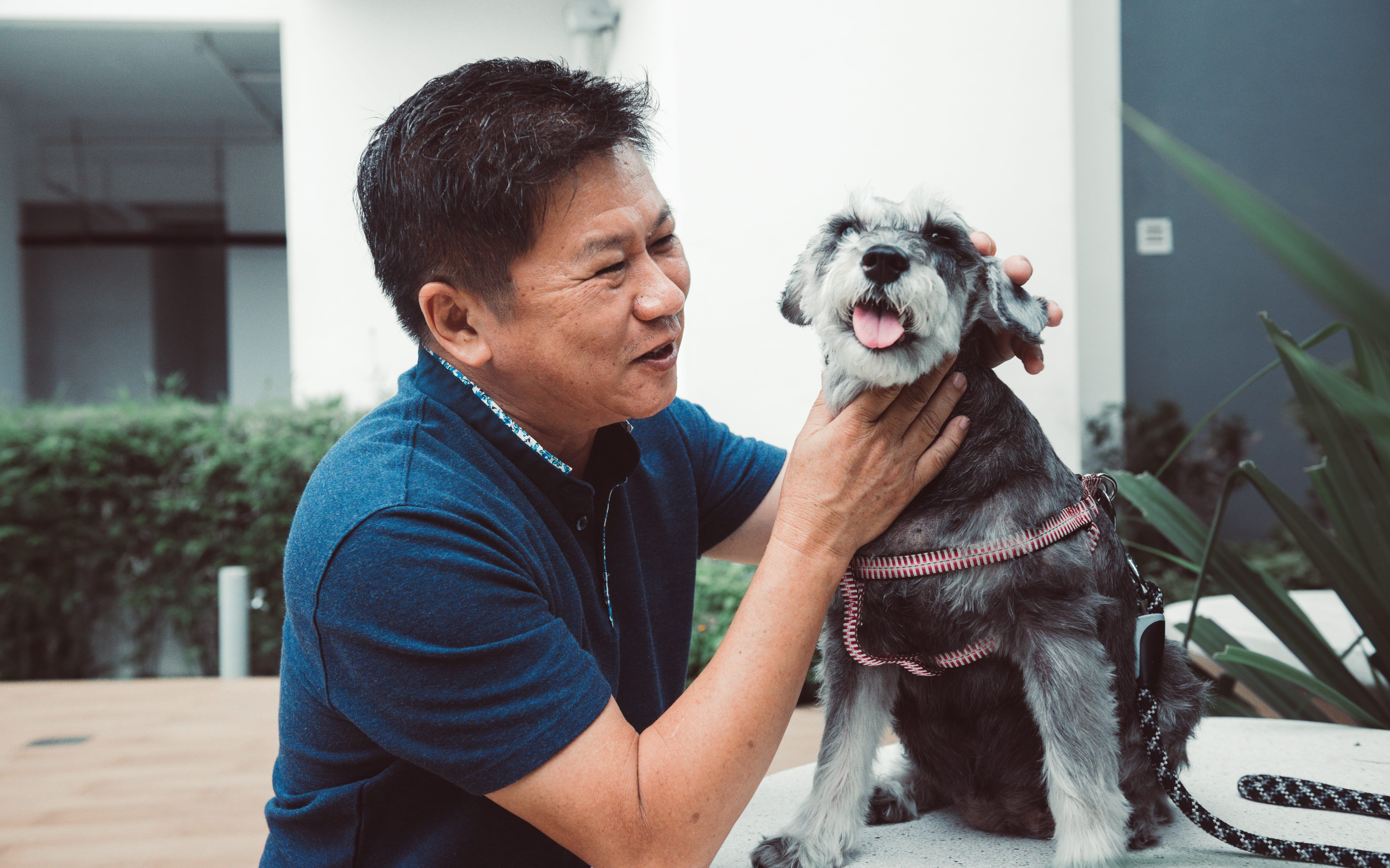 Man smiling at dog