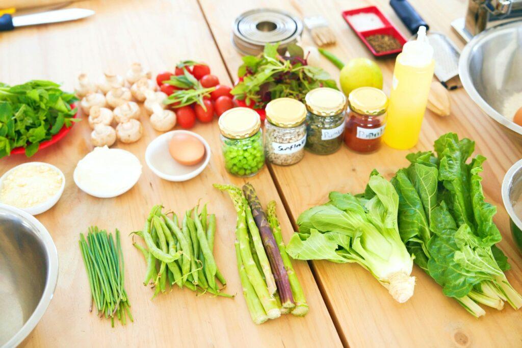 Fresh produce on table